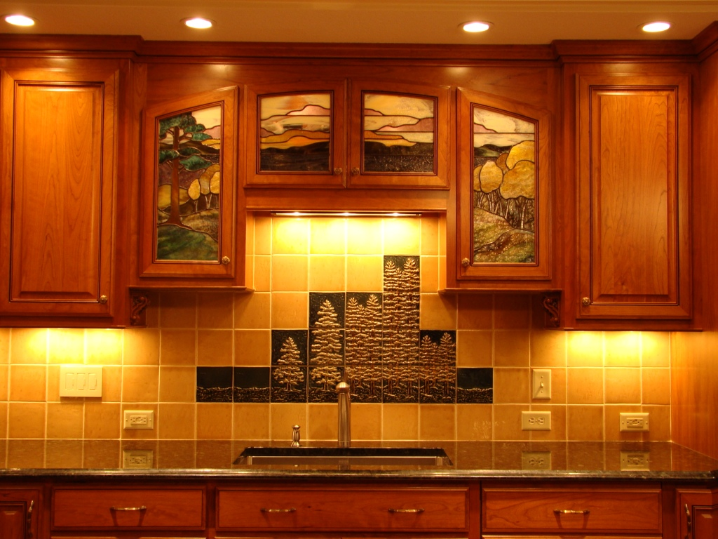 Mural kitchen backsplash