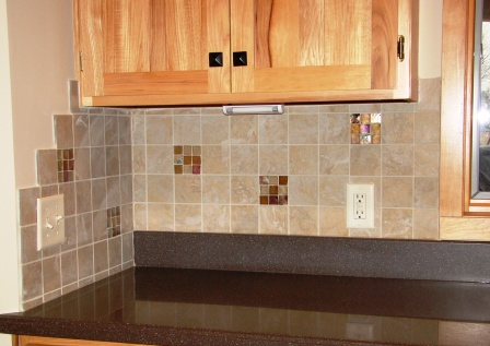 Porcelain and Glass backsplash