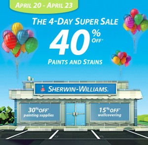 Sherwin Williams spring paint sale 2012