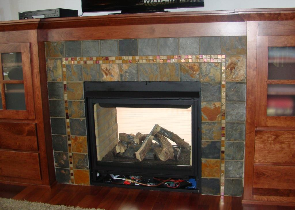 slate and glass fireplace