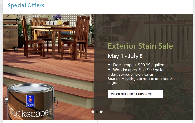 Sherwin Williams exterior stain sale June 2012