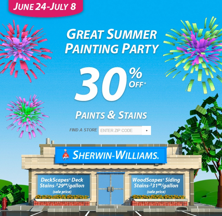 Sherwin Williams Summer Paint and Stain Sale