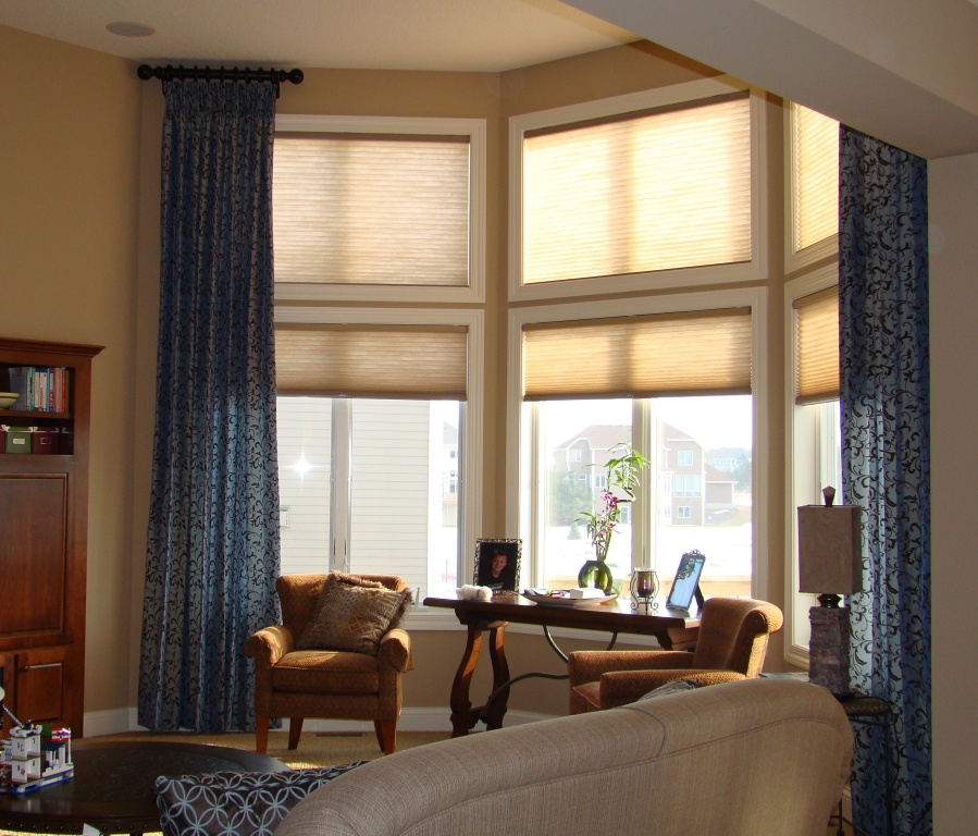 living room window treatments add color