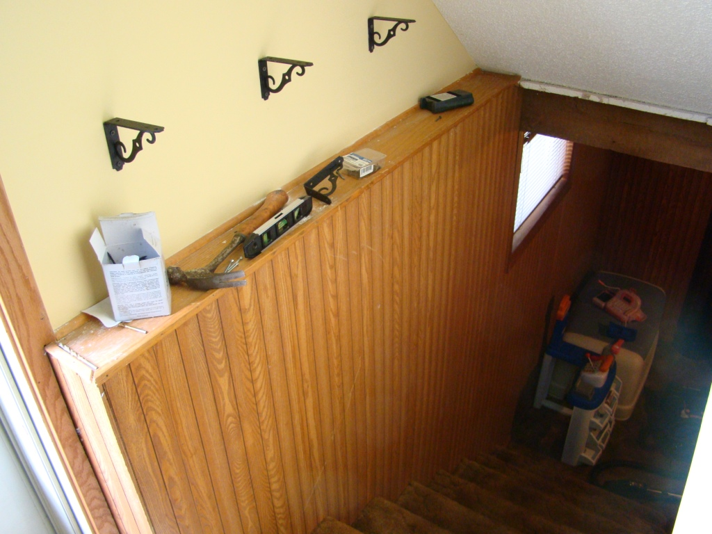 Lighting Basement Washroom Stairs: Before & After: DIY Stairway Shelves