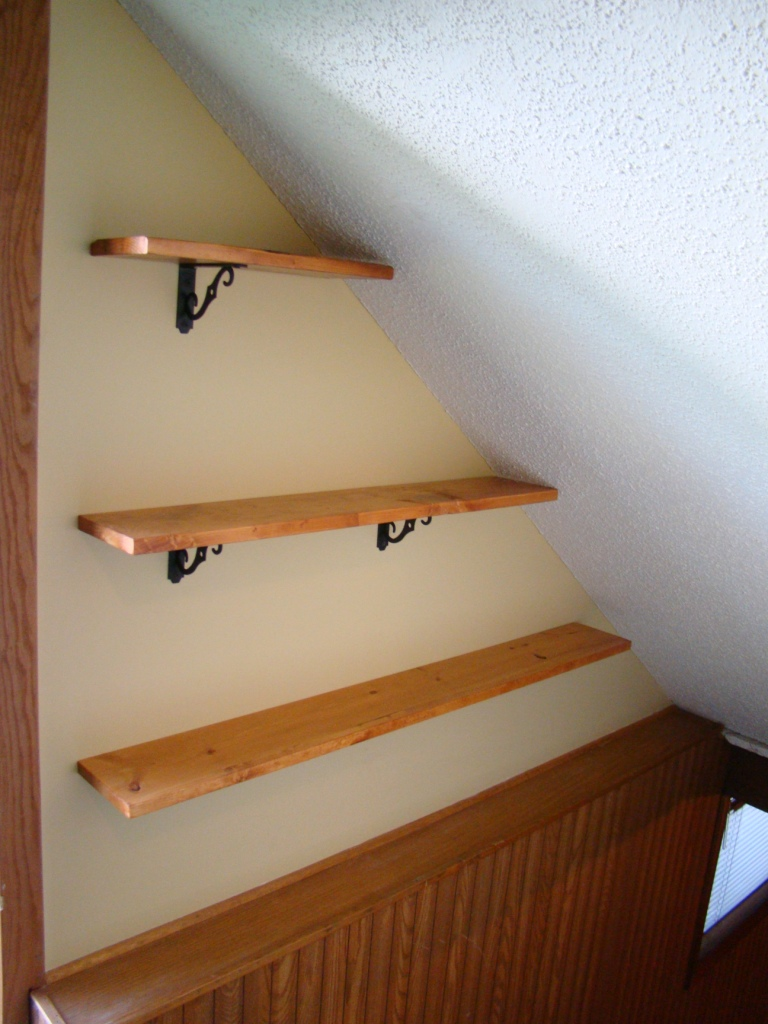 stair shelves installed