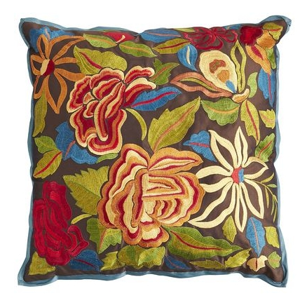 Pier 1 Embroidered Flower Pillow