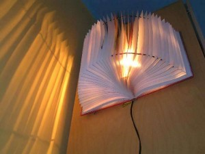 light fixture made from book