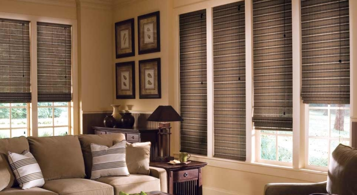 Woven wood shade with striped look