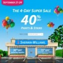 Sherwin Williams 4-Day Super Sale:  September 21-24, 2012
