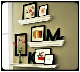 Crown molding wall shelves