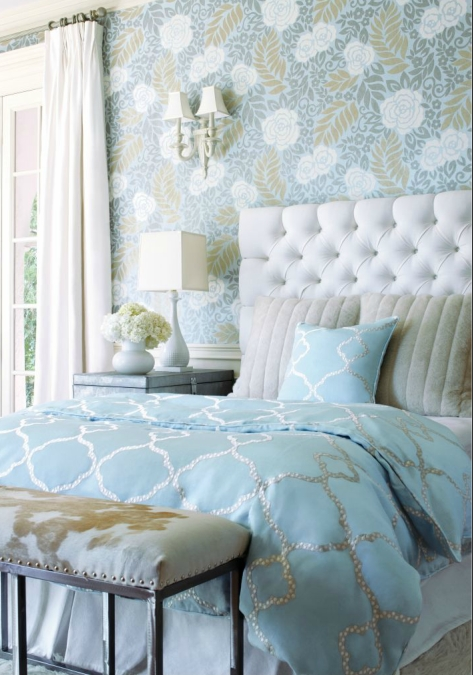 Thibaut bedroom wallpaper accent wall