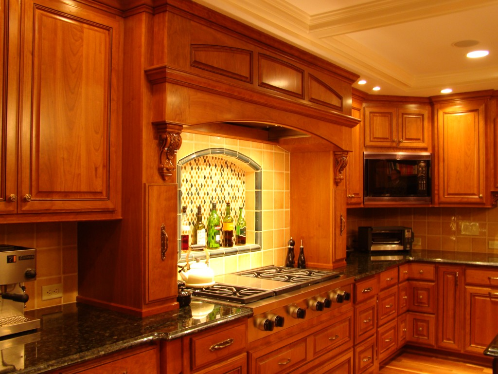 stove with tile backsplash