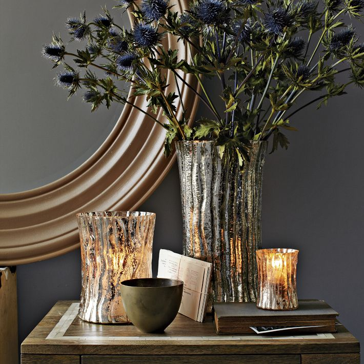 Mercury glass log vase
