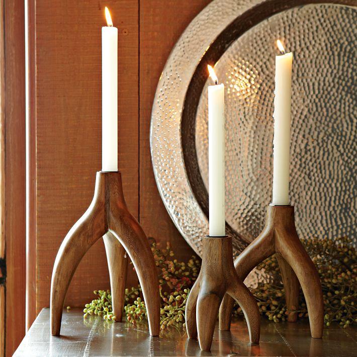 Wood antler candlestick