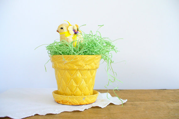 quilted vintage flower pot