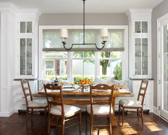 What is banquette seating a little design help for Dining room no windows