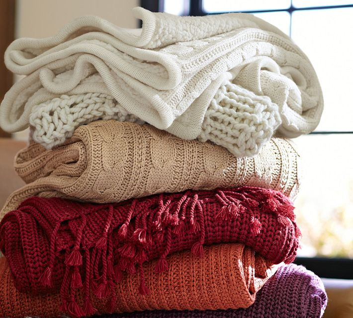 Knit and woven throws