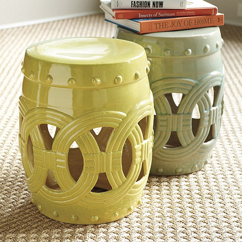 gold green garden stools