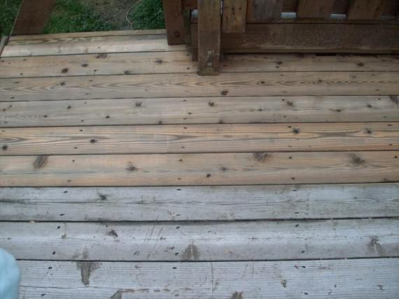 weathered cedar deck