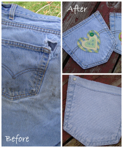 locker pocket upcycled jeans