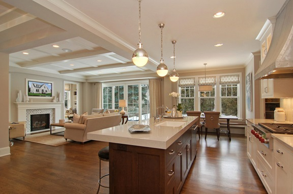 Guest post decorating tips for wide open spaces a for Design ideas for family room kitchen area