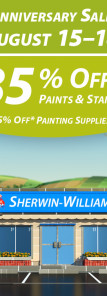 Sherwin Williams Anniversary Sale - August 2014