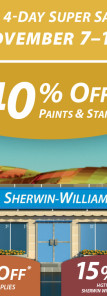 Sherwin Williams Paint Sale - November 2014