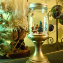 Repurposed Holiday Decor:  Snow Scene Jar